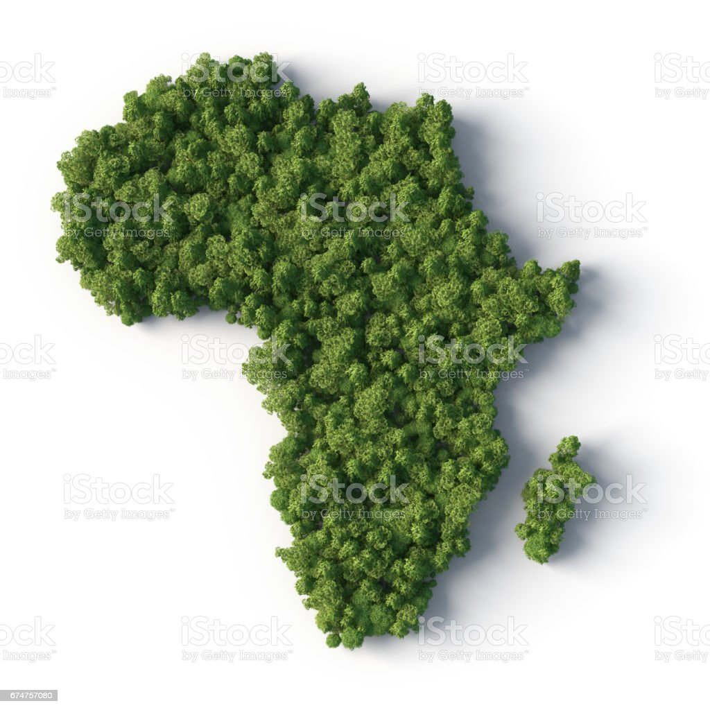 Forest in Africa map shape stock photo