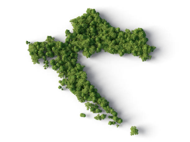Forest in Croatia map shape stock photo