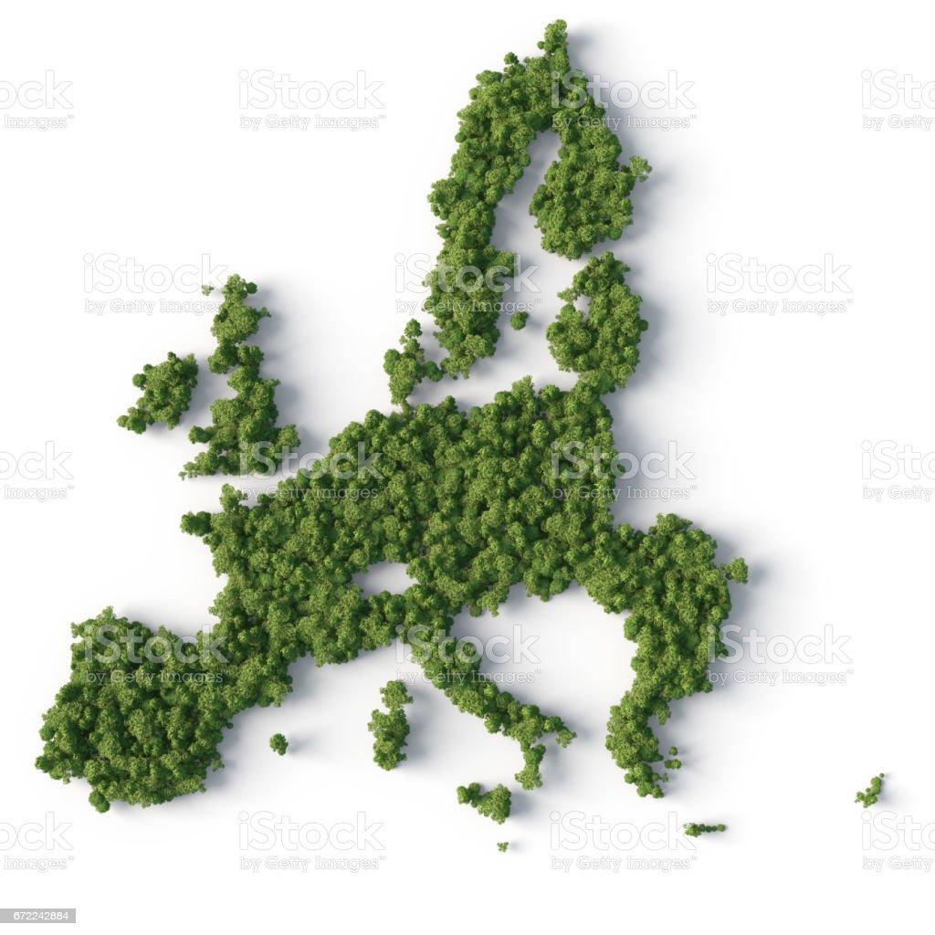 Wald in Europa union Karte Form - Lizenzfrei Ansicht von oben Stock-Foto
