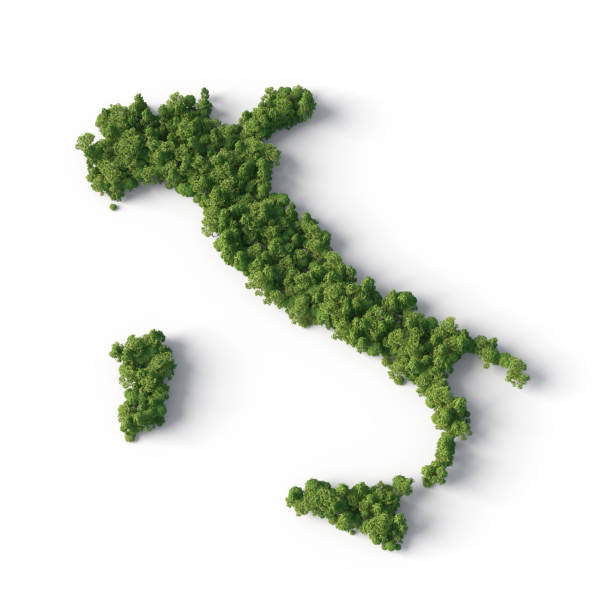 forest in the italy shape - italy map stock photos and pictures