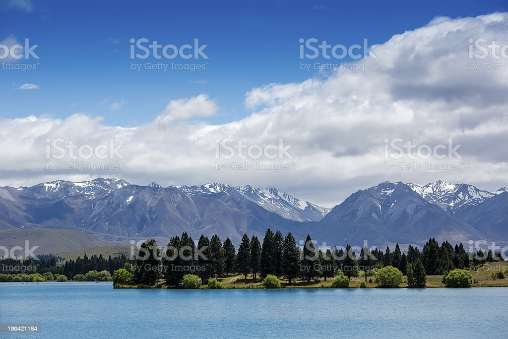 Forest lake under blue cloudy sky royalty-free stock photo
