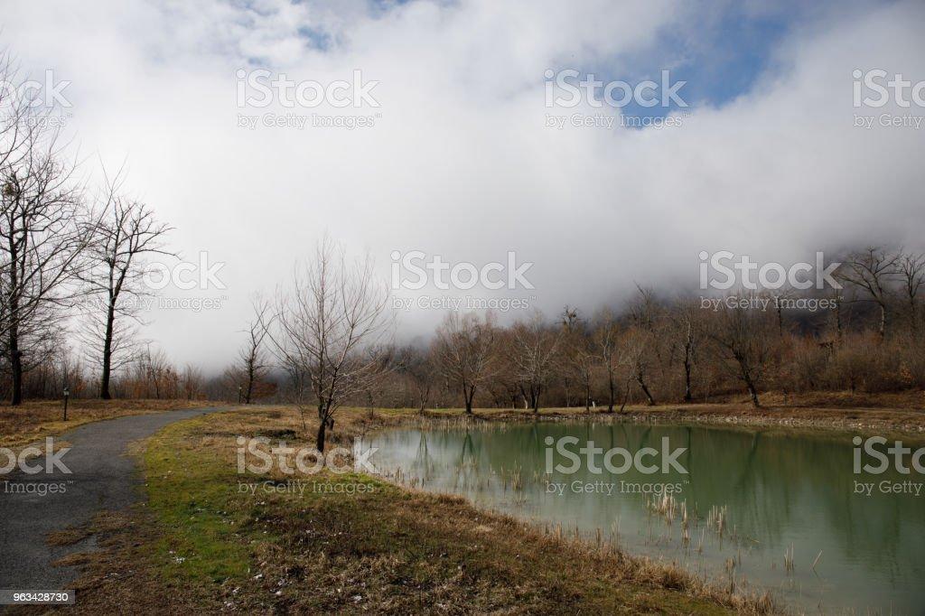 Leśne jezioro z mostem w słoneczny dzień z zimowymi drzewami i błękitnym pochmurnym niebem. Piękne naturalne górskie jezioro z lasem w tle i burzliwymi chmurami na niebie. - Zbiór zdjęć royalty-free (Azerbejdżan)