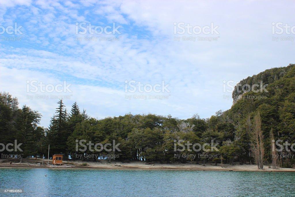 Forest near the marine of  Villa La Angostura- Argentina stock photo