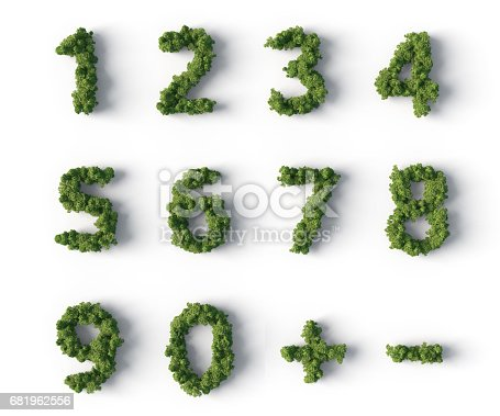3d forest in numbers shape