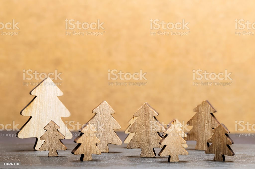 Forest of christmas trees with brown background stock photo