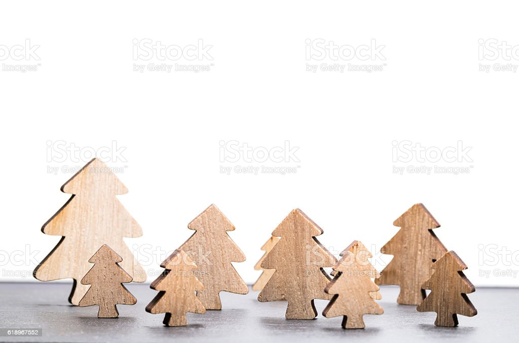Forest of christmas trees with white background stock photo
