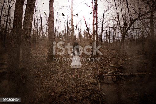 3d illustration of ghost girl in white dress in the abandoned forest ,Scary background mixed media for book cover,book illustration