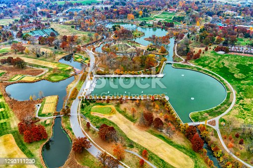 Aerial view of Forest Park, known as the