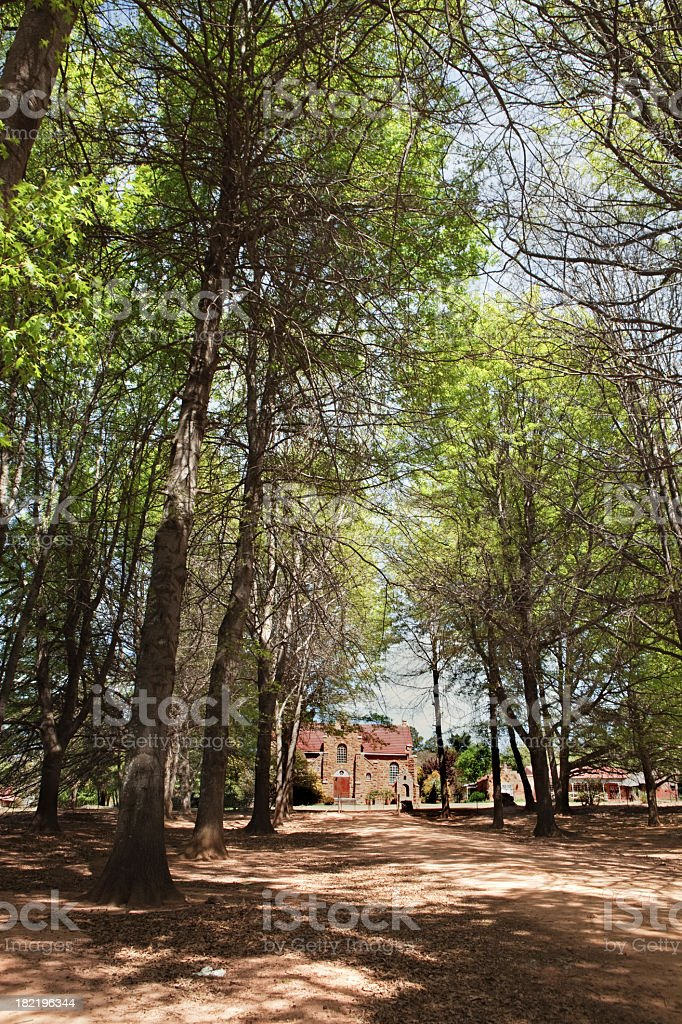 Forest Pathway to Church stock photo