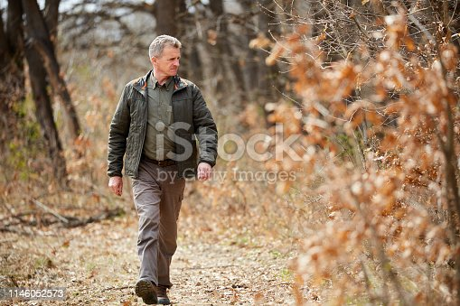 Forest ranger walking through his domain