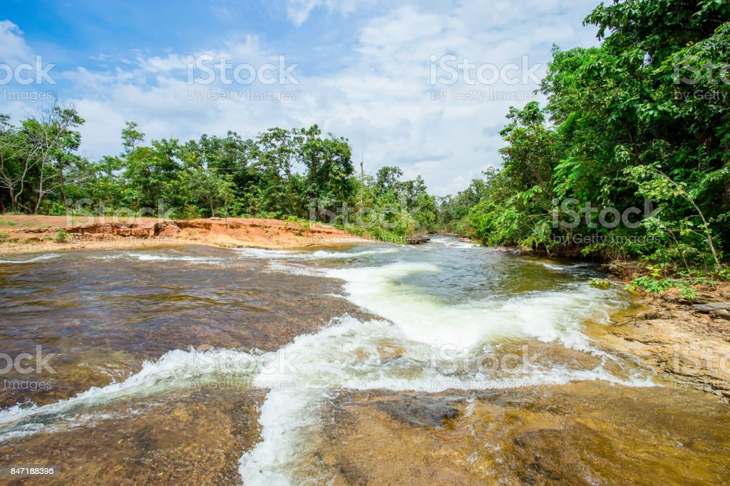 Forest, River, Spring - Flowing Water, Springtime, Sun stock photo