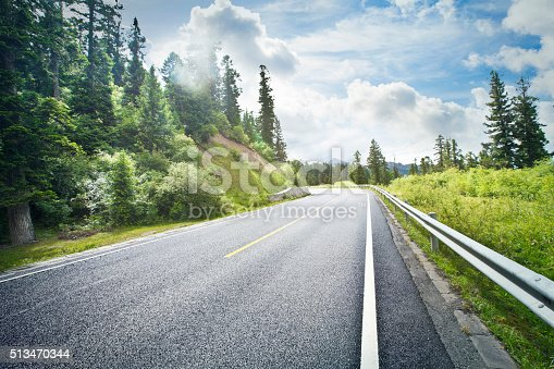 An curve road in forest