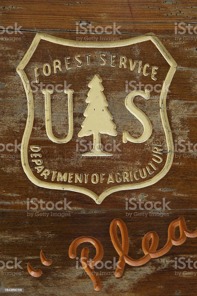 US Forest Service Wooden Sign stock photo