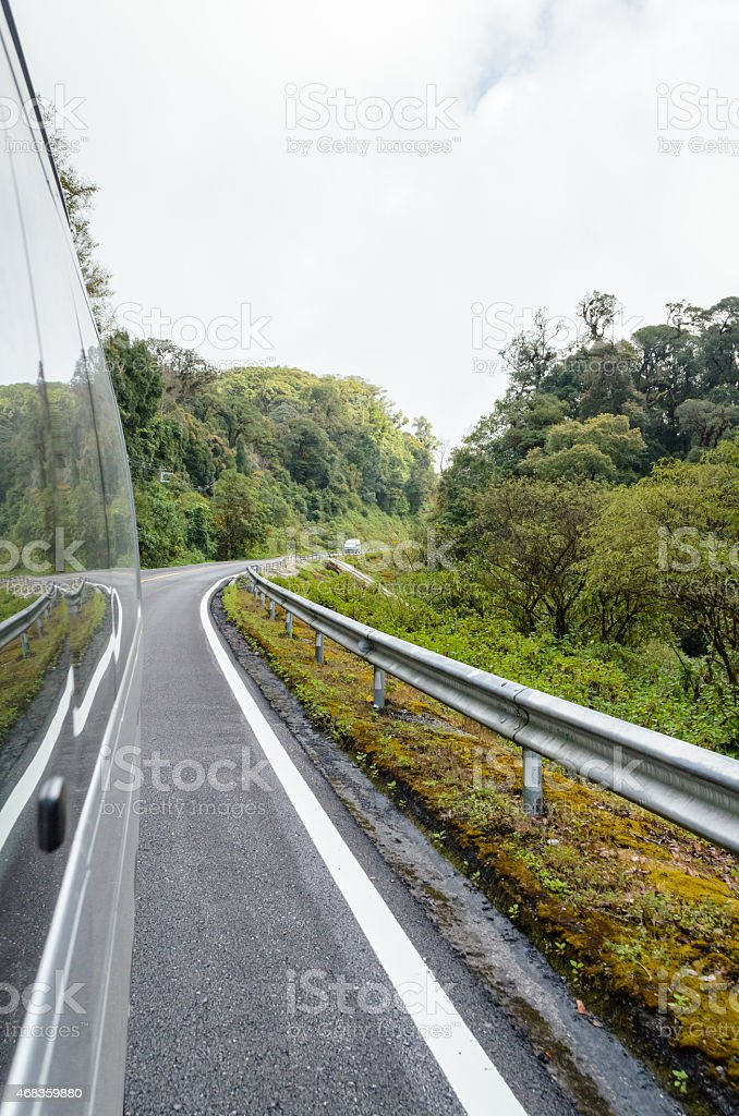 Forest travel by van. royalty-free stock photo