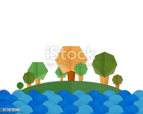 istock Forest Trees and Blue River Landscape Paper craft. 511876294
