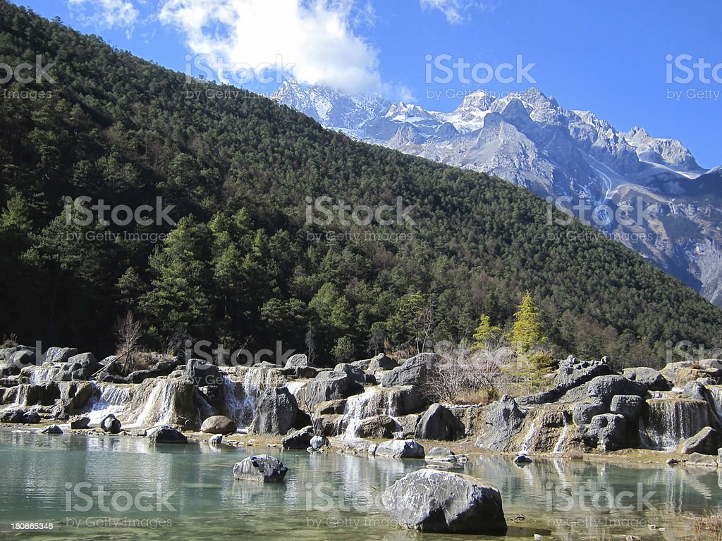 Forest under snow mountains royalty-free stock photo