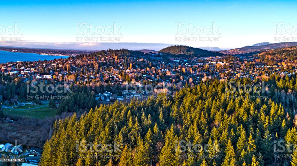 Bosque vista Bellingham Washington Fairhaven barrio - foto de stock