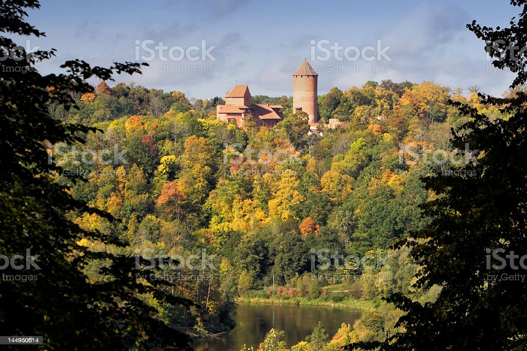 Forest view of Turaida Castle and a lake in Latvia stock photo