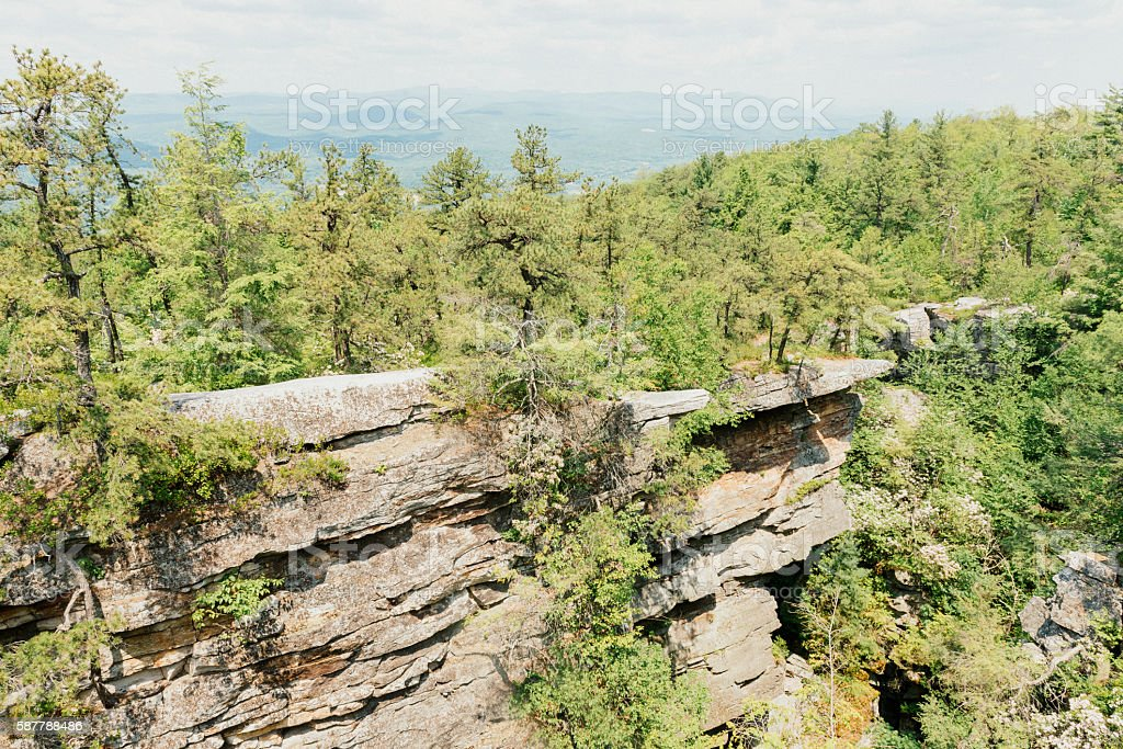Forest View with Cliffs of Shawangunk Appalachian Mountains NY stock photo