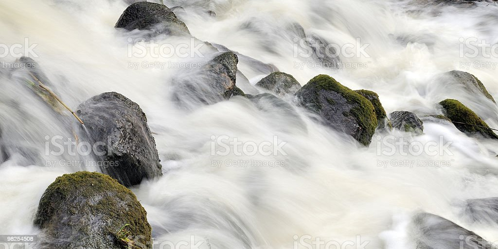 Forest waterfall in spring royalty-free stock photo