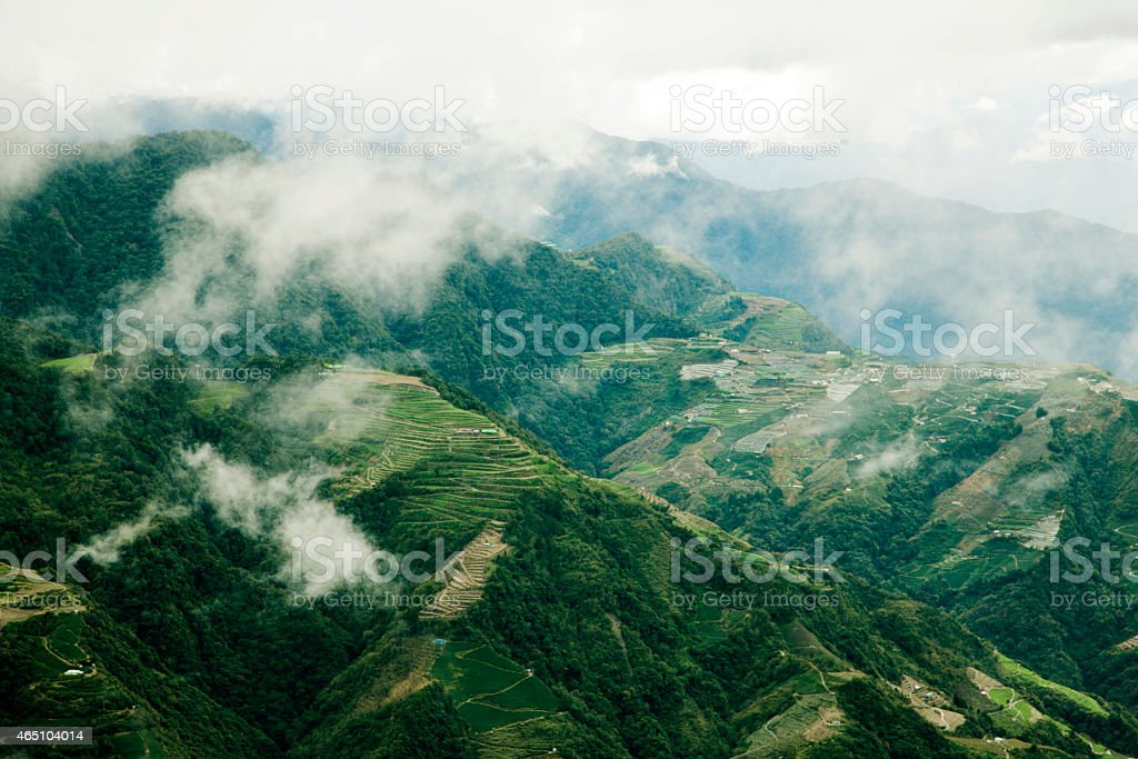 Forested mountainside, Sun Moon Lake, Taiwan stock photo