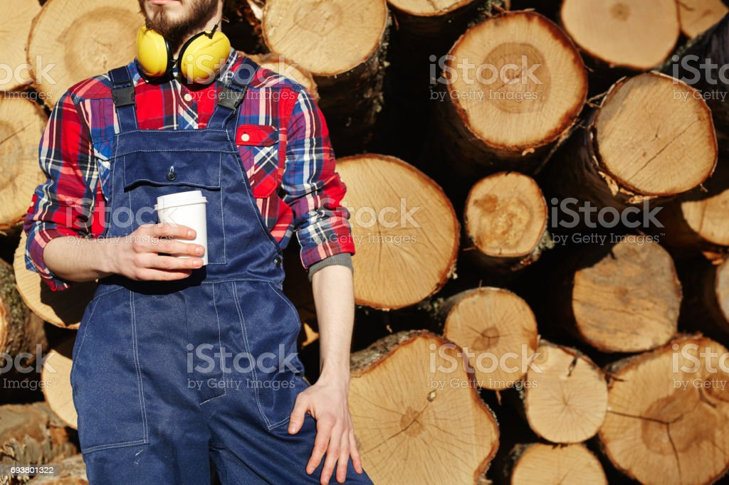 Forester with drink stock photo