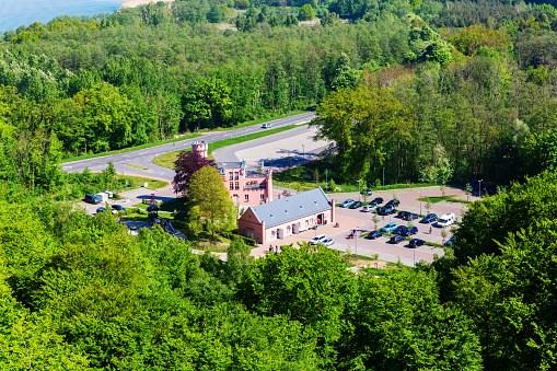 forester's house seen from the watch tower of the canopy pathway on Ruegen, Germany