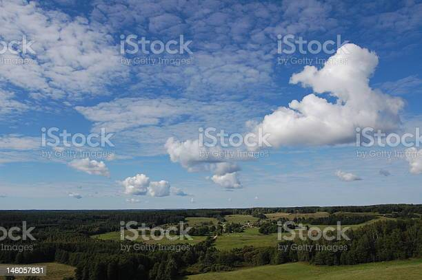 Forests And Fields Under Sky Stock Photo - Download Image Now