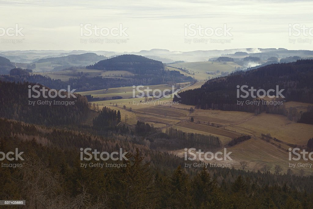 Forests, hills and mist. stock photo