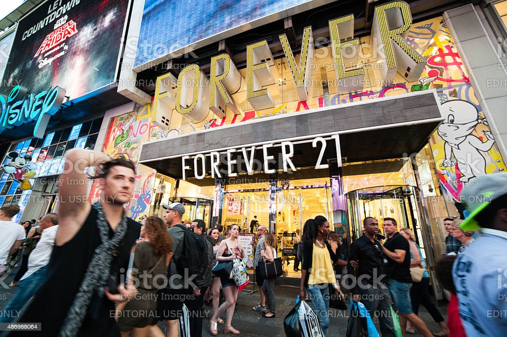 Forever 21 Store in Times Square, NYC. stock photo