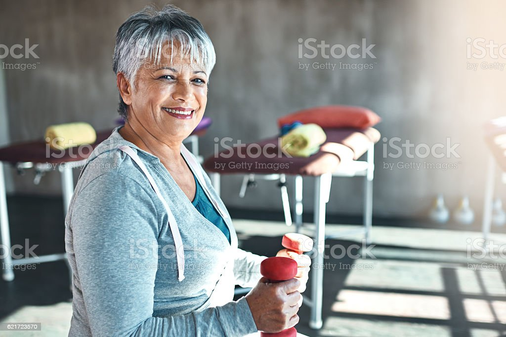 Forever fit, that's my motto stock photo