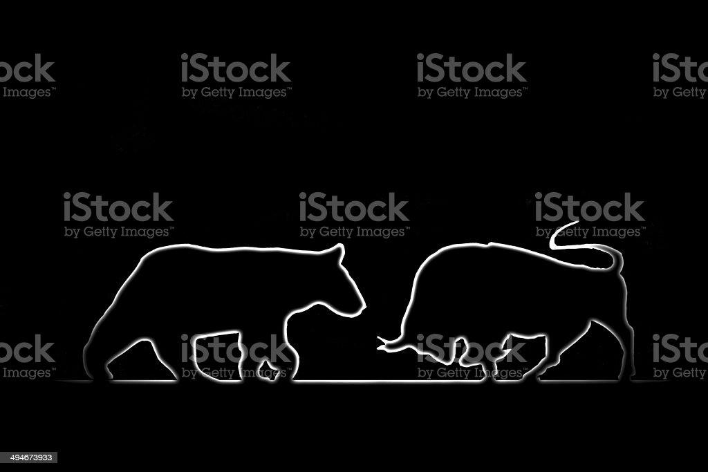 Forex: Bear and bull stock photo