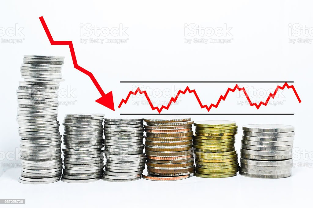 forex graph red arrow downtrend stock photo