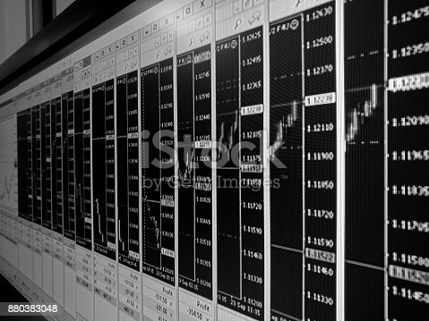 istock Forex trading multiple charts background in black and white 880383048