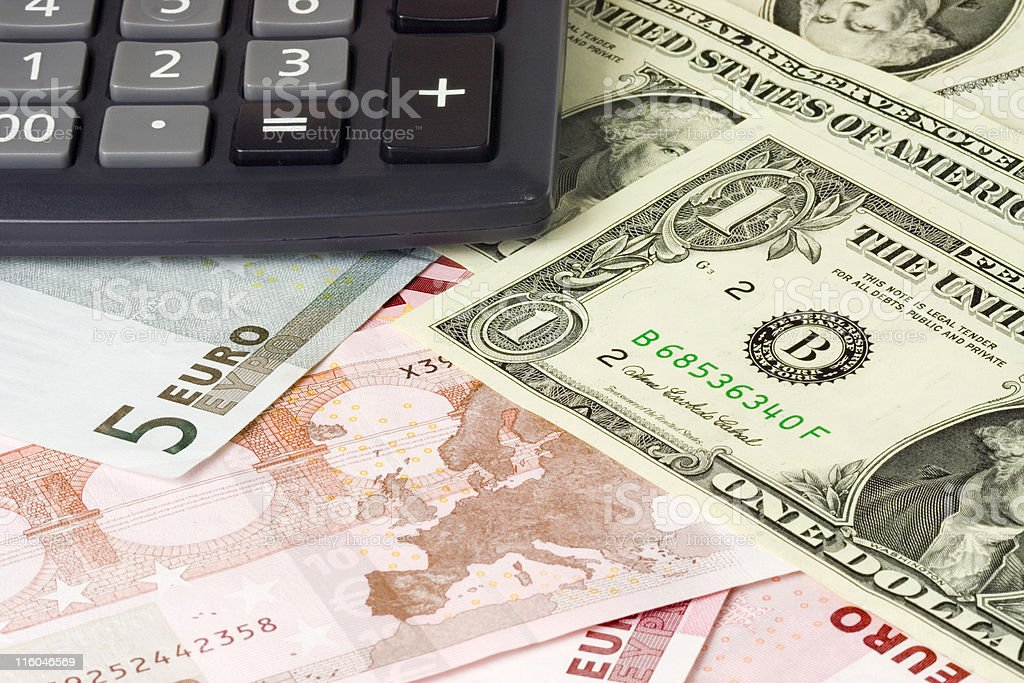 Forex - US and Euro currency pair with calculator royalty-free stock photo