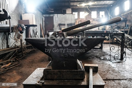 istock Forge, blacksmith's work, hot metal 821872256