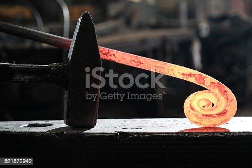istock Forge, blacksmith's work, hot metal 821872942