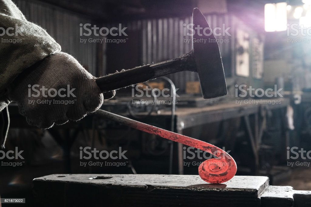 Forge, blacksmith's work, hot metal stock photo