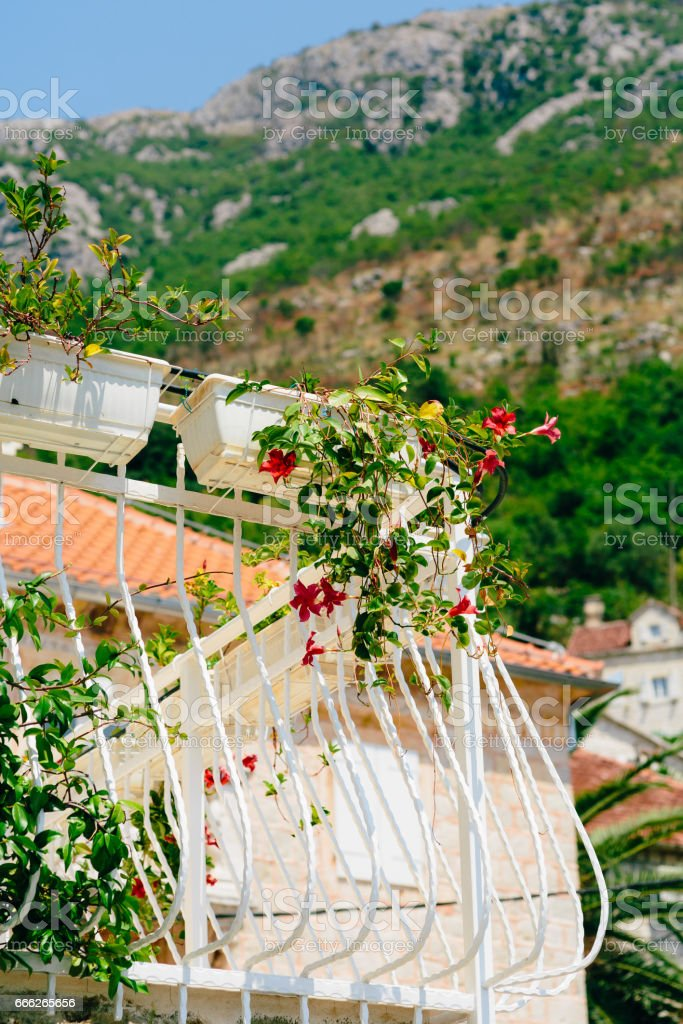 Forged balcony in an old house. Balkan architecture - foto de stock