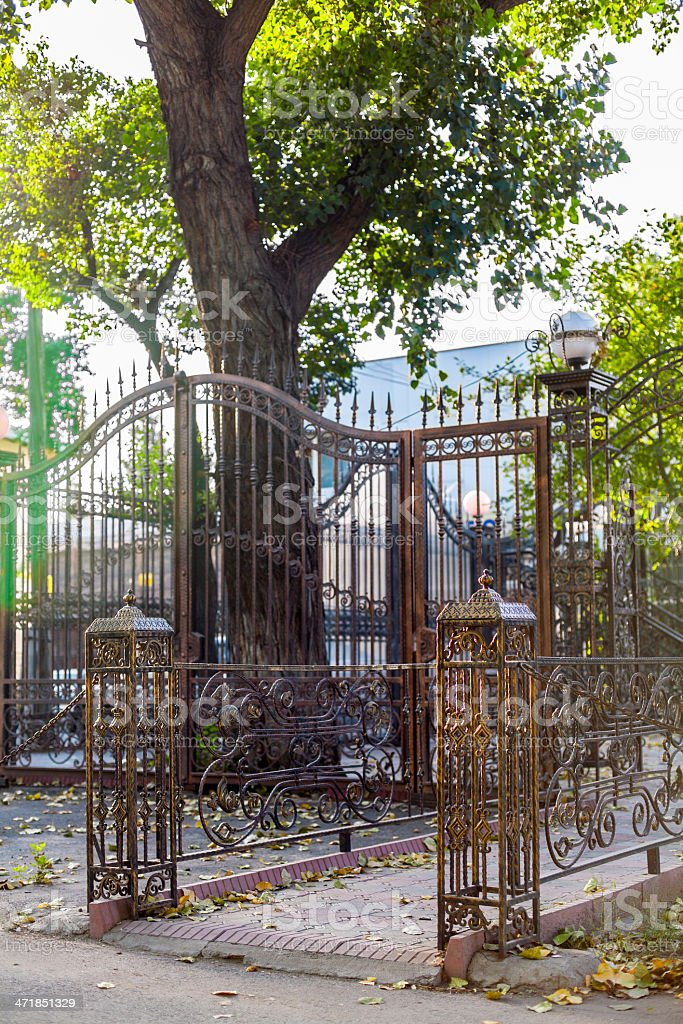 Forged carved lattice in the park royalty-free stock photo