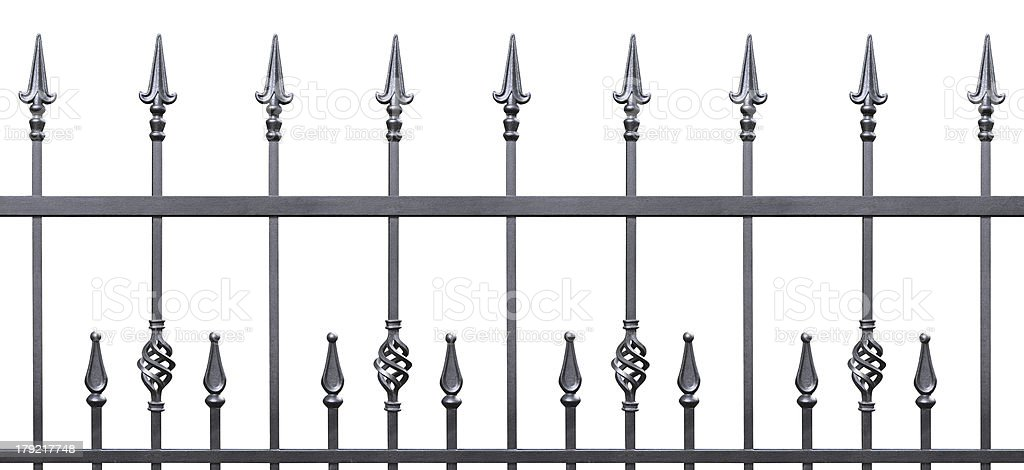 Forged decorative fence isolated horizontal panorama royalty-free stock photo