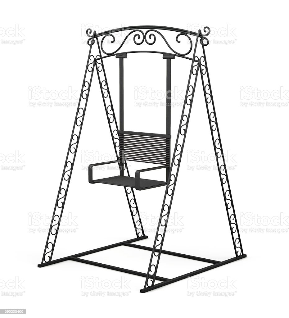 Forged metal swing for children on white background. 3d renderin royalty-free stock photo
