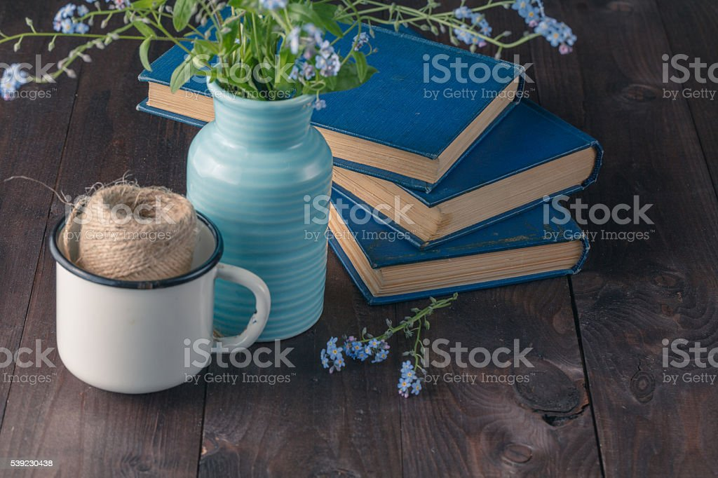 Forget me not and old books foto royalty-free