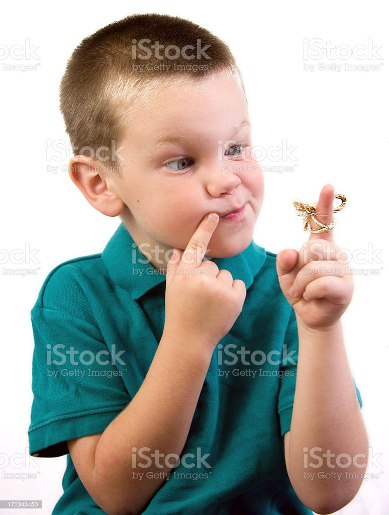 Forgetful Boy- with Clipping Path stock photo