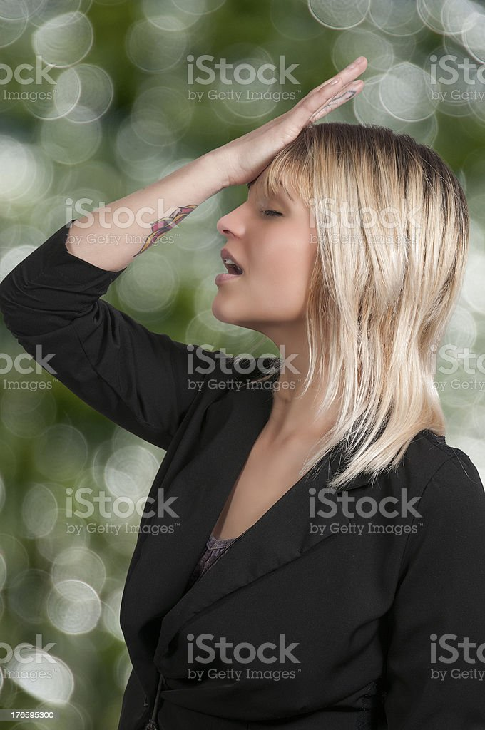 Forgetful woman royalty-free stock photo