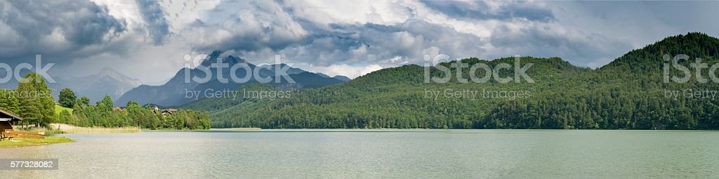 Forggensee Mountain Lake in the south of Bavaria stock photo