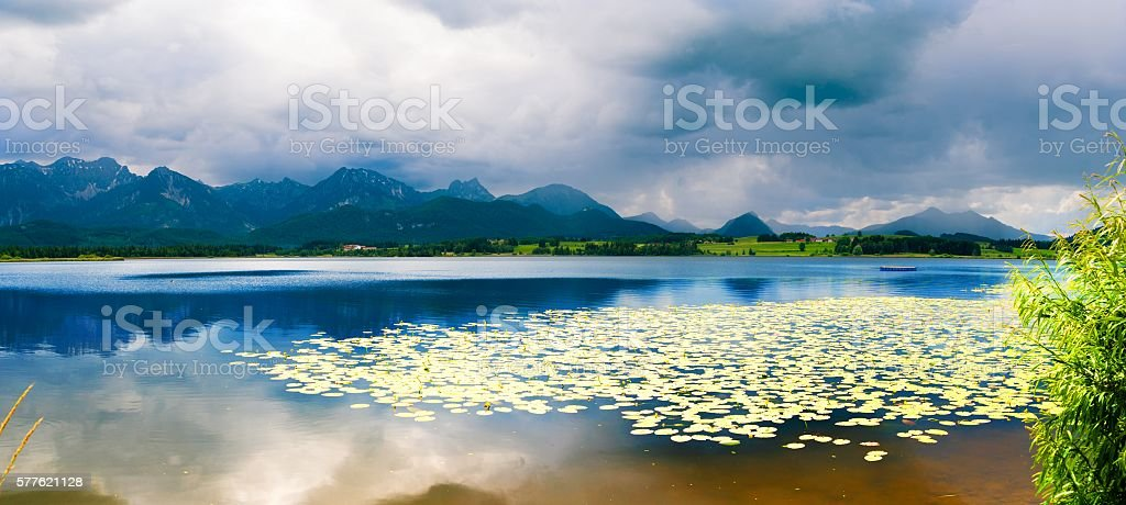 Forggensee Mountain Lake in the south of Bavaria, stock photo