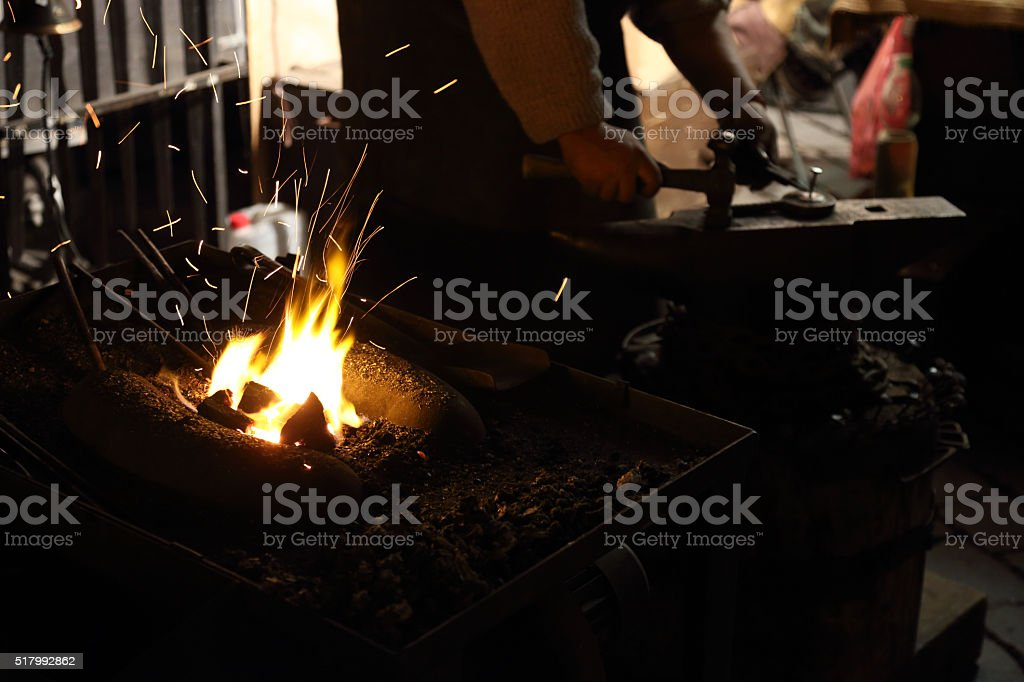 Forging hot iron stock photo