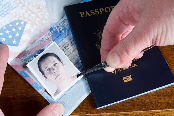 Forging Passport Picture Hand with tweezers holding id photo over passport as if forging the travel documents imitation stock pictures, royalty-free photos & images