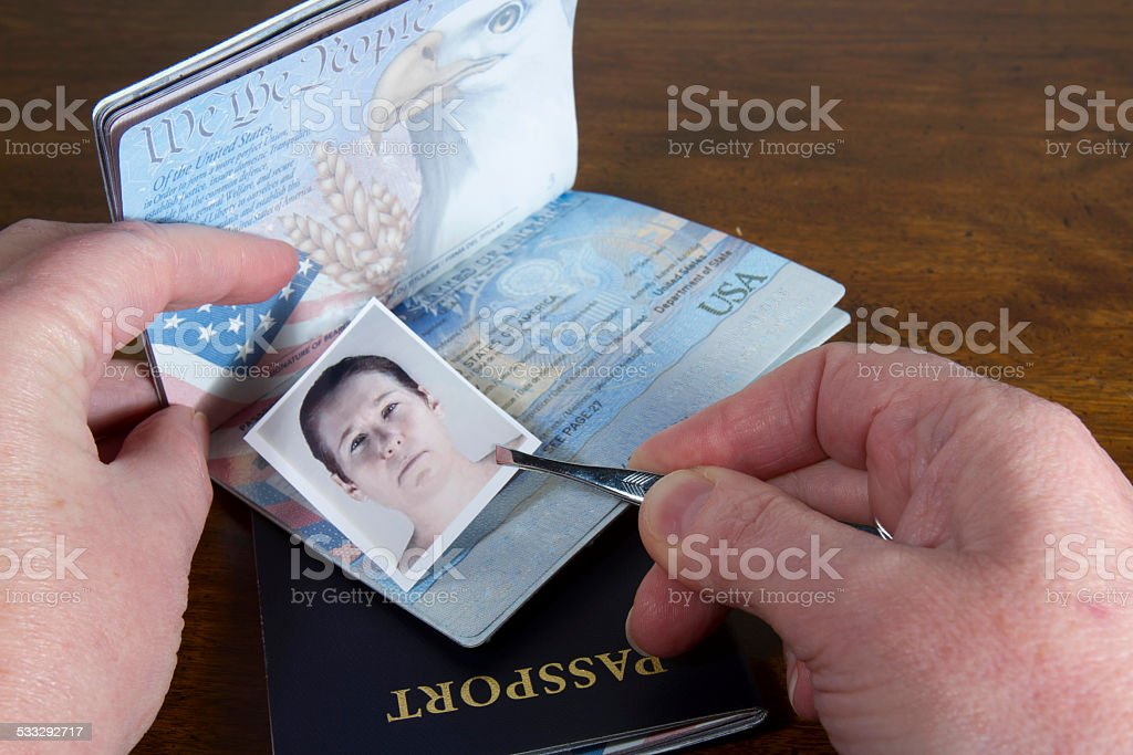 Forging Travel Documents stock photo